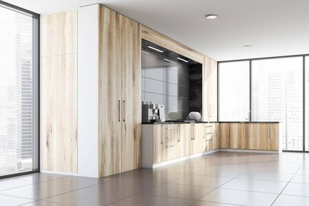 Corner of spacious kitchen with gray walls, tiled floors, panoramic windows and wooden countertops and cupboards with built in sink and cooker. 3d rendering Standard-Bild - 124974957