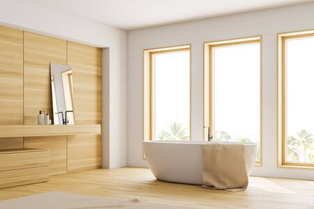 Close up of loft bathroom corner with white and wooden walls, wooden floor, white bathtub standing near three windows and wooden sink with mirror. 3d rendering
