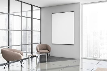 Corner of office waiting room with white and glass walls, tiled floors, panoramic window, beige armchairs near glass coffee table and vertical mock up poster. 3d rendering