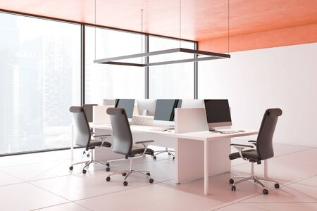 Corner of modern panoramic open space office with orange ceiling, tiled floor, large white computer table and chairs around it. Concept of teamwork. 3d rendering