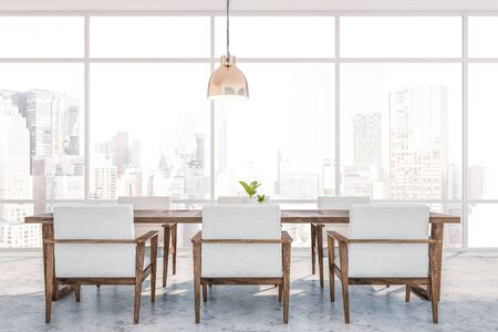 Interior of panoramic dining room with concrete floor, dark wooden table with white armchairs and window with cityscape. 3d rendering