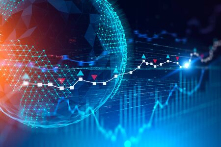 Planet hologram and digital forex graphs over blue background. Concept of trading, stock market and fintech. 3d rendering toned image Фото со стока