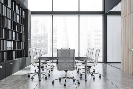 Conference room interior with black and glass walls, glass meeting table with white chairs and black bookcase with folders. Concept of discussion. 3d rendering