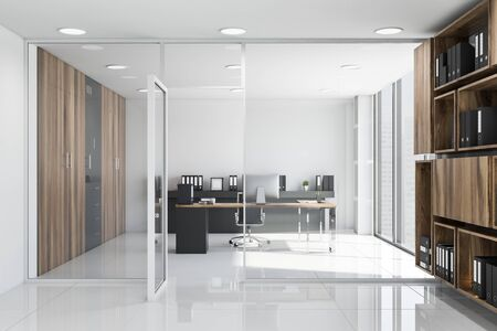 Interior of CEO office with white walls, tiled floor, wooden computer desk and bookcase with folders in the hall. 3d rendering Stok Fotoğraf