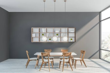 Interior of modern dining room with gray walls, white wooden floor, white table with chairs and bookshelves on the wall. 3d rendering