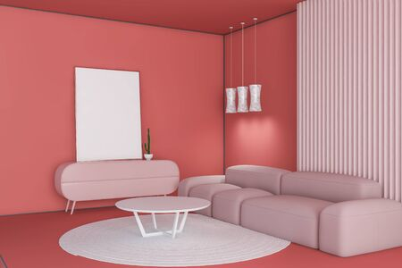 Bright corner of living room with pink and red walls and floor, pink sofa near white coffee table, pink cabinet and vertical mock up poster on it. 3d rendering