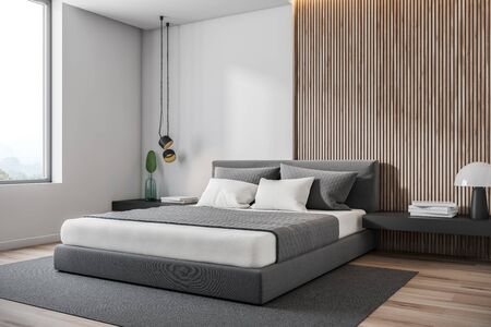 Corner of minimalistic bedroom with white and wooden walls, wooden floor, gray master bed with black bedside tables and gray carpet. 3d rendering