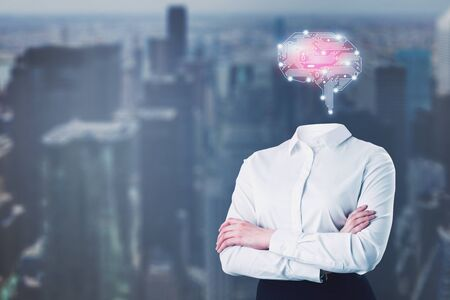 Businesswoman in white shirt with circuit brain hologram standing with crossed arms over blurred city background. Concept of artificial intelligence and brainstorming