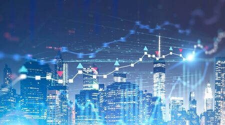 Blurred digital forex graphs over night cityscape background. Concept of trading and stock market analytics. 3d rendering toned image double exposure