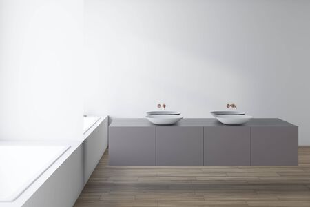 Interior of original bathroom with white walls, wooden floor, white double sink standing on gray countertop near mirror wall and comfortable white bathtub. 3d rendering