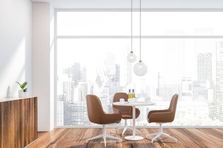 Interior of modern dining room in Scandinavian style with white walls, wooden floor, round table with leather chairs and comfortable cupboard. Panoramic window with cityscape. 3d rendering