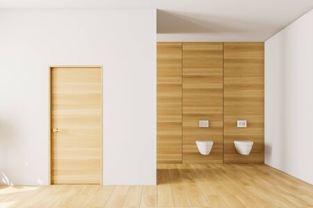 Interior of modern bathroom with white and wooden walls, wooden floor, two toilets and wooden door in the wall. 3d rendering