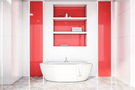 Interior of bright bathroom with white tile and red walls, concrete floor, comfortable white bathtub and shelves above it. 3d rendering