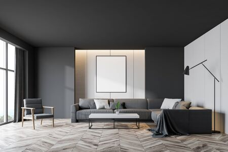 Interior of modern living room with white and gray walls, wooden floor, gray sofa and armchair with cushions near coffee table and vertical mock up poster. 3d rendering Banco de Imagens