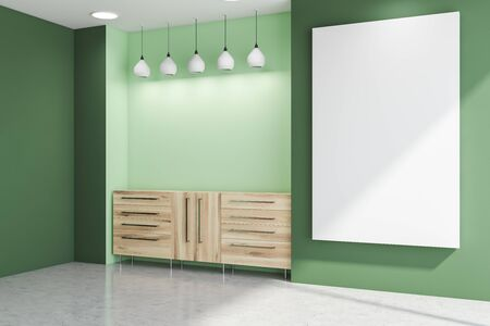 Corner of minimalistic living room with green walls, concrete floor, wooden cabinet with lamps above it and vertical mock up poster on the wall. 3d rendering