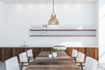 Close up of modern kitchen with white walls, concrete floor, dark wooden countertops with built in sink and oven and wooden table with white armchairs. 3d rendering