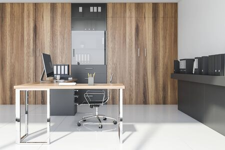 Side view of CEO office with white walls, tiled floor, wooden computer table, bookcase and gray shelf with folders. 3d rendering Banco de Imagens