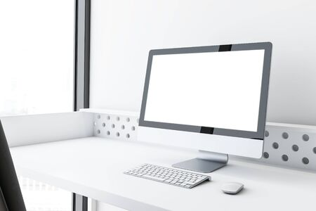 Mock up computer display standing on white table near white wall and window in office or at home. Concept of advertising and product placement. 3d rendering Stok Fotoğraf