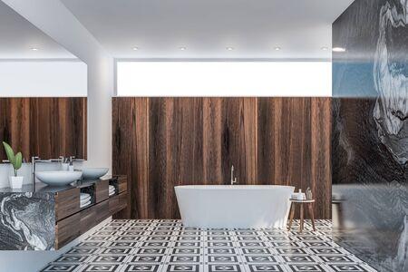 Interieur des modernen Badezimmers mit weißem, schwarzem Marmor und dunklen Holzwänden, Fliesenboden, Doppelwaschbecken mit großem Spiegel darüber und weißer Badewanne. 3D-Rendering