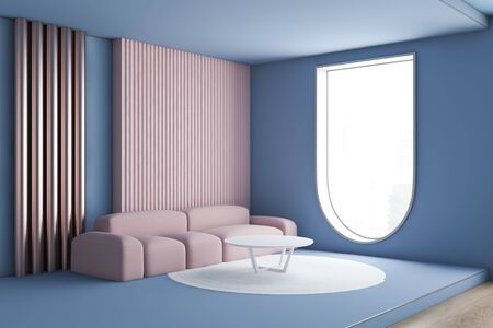 Corner of modern living room with blue and pink walls, pink sofa near round coffee table, white carpet and window of original shape. 3d rendering Stok Fotoğraf