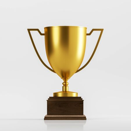 Gold champion trophy on dark wooden stand standing on white surface over white background. Concept of leadership in business and sport. 3d rendering