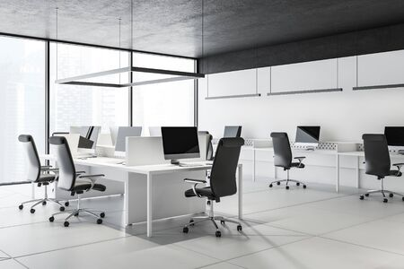 Corner of panoramic open space office with white walls, black ceiling, tiled floor and rows of white computer tables with black chairs. Concept of teamwork. 3d rendering