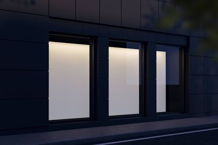 Side view of three blank mock up posters hanging in shop window at night. Concept of advertising and marketing. 3d rendering