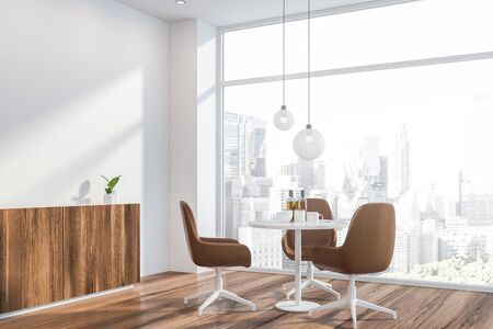 Corner of modern dining room in Scandinavian style with white walls, wooden floor, round table with leather chairs and comfortable cupboard. Panoramic window with cityscape. 3d rendering