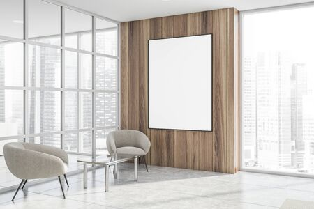 Corner of modern office waiting room with glass and wooden walls, panoramic window, white armchairs near coffee table and vertical mock up poster. 3d rendering