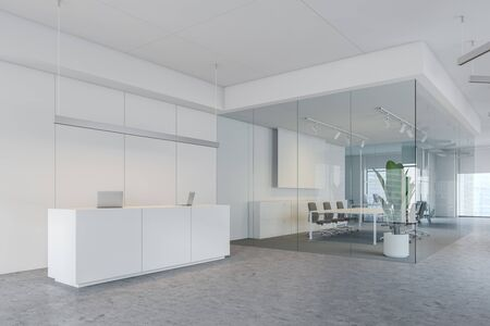 Interior of modern office with white walls, concrete floor, white reception table with computers, meeting room with glass walls and projection screen. 3d rendering