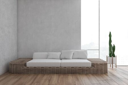 Interior of minimalistic living room with white walls, wooden floor and brown sofa standing near large window. 3d rendering