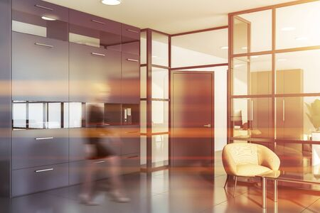 Businesswoman walking in modern office waiting room with white and glass walls, comfortable armchair and gray bookcase. Toned image blurred