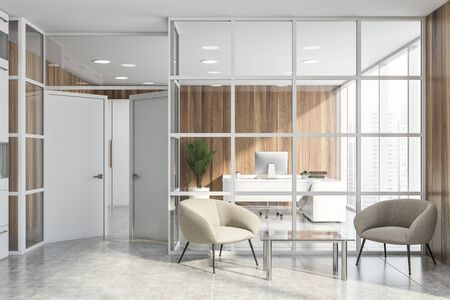 Interior of office waiting room with glass and wooden walls, comfortable white armchairs near coffee table and CEO office in background. 3d rendering Stock Photo