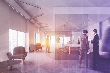 Business people in office hall with white walls, panoramic windows, glass wall meeting room and lounge area with armchairs. International company concept. Toned image double exposure blur
