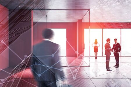 Business people walking and shaking hands in modern office hall with red walls and floor and panoramic windows. Corporate lifestyle concept. Toned image double exposure blurred