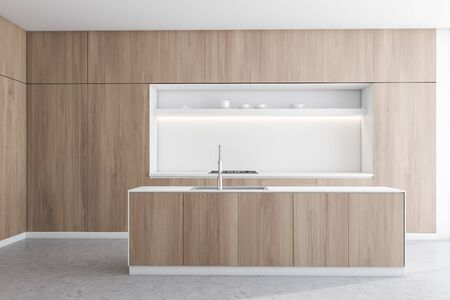 Interior of modern kitchen with white and wooden walls, concrete floor, wooden countertops with built in oven and white island with sink. 3d rendering