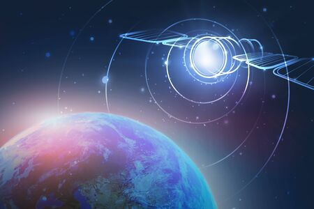 Holograma de satélite brillante sobre el planeta Tierra. Concepto de telecomunicaciones y alta tecnología. Imagen tonificada. Elementos de esta imagen proporcionados por la NASA. Ilustración de render 3d.