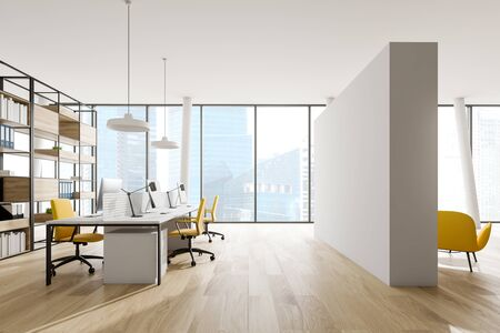 Interior of open space office with white walls, wooden floor, white computer tables with yellow chairs, wooden bookcase with folders and lounge area with yellow armchairs. 3d rendering