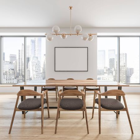 Side view of stylish dining room with white walls, wooden floor, large windows, long wooden table with gray chairs and horizontal mock up poster frame on the wall. 3d rendering