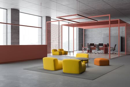 Corner of stylish open space office with gray walls, concrete floor, pink reception desk and comfortable lounge with bright yellow armchairs. 3d rendering Imagens