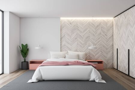 Interior of stylish bedroom with white and light wooden walls, wooden floor, master bed with pink bedside tables and stylish lamps and wooden wardrobe. 3d rendering