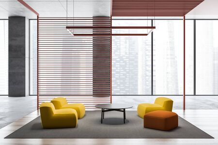 Panoramic waiting room interior with concrete walls and comfortable yellow and orange armchairs near round coffee table. 3d rendering Imagens