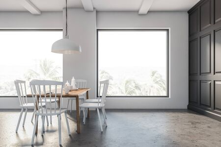 Interior of minimalistic loft dining room with gray and white walls, concrete floor, wooden table with white chairs and stylish ceiling lamp. 3d rendering