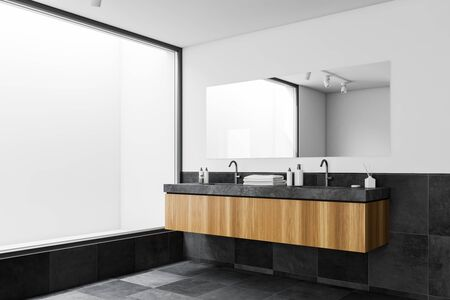 Corner of modern bathroom with white and tiled walls, panoramic window, double sink standing on wooden countertop and large mirror. 3d rendering 写真素材