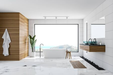 Interior of luxury bathroom with white and wooden walls, marble floor, white bathtub standing near panoramic window with scenery and glass double sink. 3d rendering