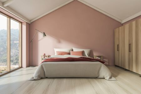 Interior of stylish attic bedroom with pink walls, wooden floor, large window and double bed with two bedside tables and floor lamp. 3d rendering