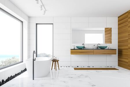 Side view of luxury bathroom with white and wooden walls, marble floor, white bathtub standing near panoramic window with scenery and glass double sink. 3d rendering