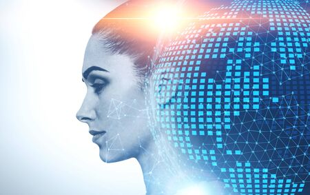 Profile of serious young woman with double exposure of planet hologram and digital network interface. Concept of internet connection. Toned image