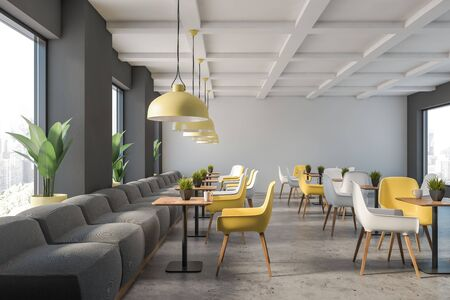 Interior of stylish family restaurant with gray and white walls, stone floor, gray sofas and yellow and white chairs near square wooden tables. 3d rendering Stock Photo