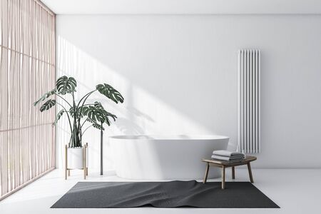 Interior of comfortable bathroom with white walls and floor, light wooden blinds, comfortable white bathtub with gray carpet and chair with towels. 3d rendering